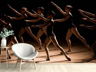A choreographed dance of a group of graceful pretty young ballerinas practicing on stage in a classical ballet school
