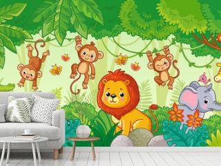 African animals in the jungle. Cute cartoon animals.