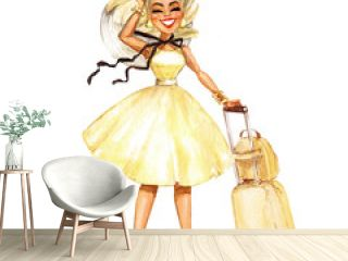 Pretty smiling woman. Travel series. Watercolor Illustration.
