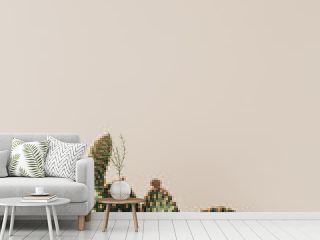 Closeup of cactus on beige background.