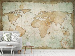 Blue worn vintage world map illustration