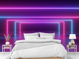3d render, abstract panoramic background, neon light, glowing lines, geometric shapes, ultraviolet spectrum, virtual reality, laser show
