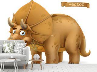 Triceratops, ceratopsid dinosaur cartoon character. Funny animal 3d vector icon
