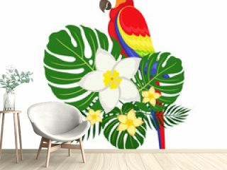Parrot with palm leaves and plumeria flowers.