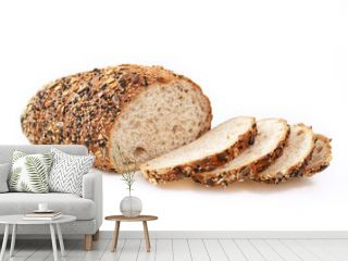 Loaf of wholegrain bread isolated on white background