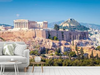 Panorama of Athens, Greece. Panoramic view of Acropolis in city center.