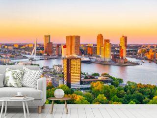 Sunset aerial view of Erasmus bridge and skyline of Rotterdam, Netherlands