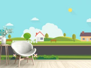Beautiful nature landscape with houses, bench and fences background.Home with Green Hills and blue sky.Public park with nature and street.Vector illustration.Rural scene with home on street