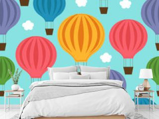 seamless pattern with balloon in the blue sky - vector illustration, eps