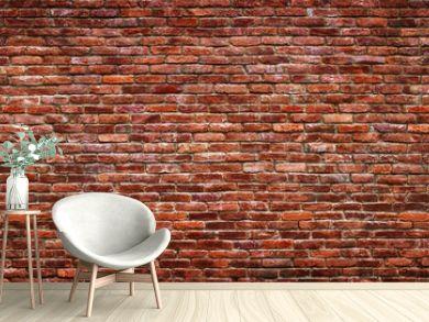 Antique brick wall, panoramic view. Grunge stone texture.