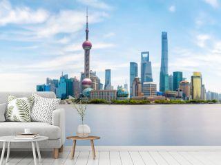 Shanghai city skyline, Panoramic view. Huangpu river, China.