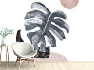 Abstract poster design: minimal shapes, glossy tropical monstera leaf.