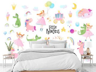 Princesses, dragons and unicorns. Vector collection.