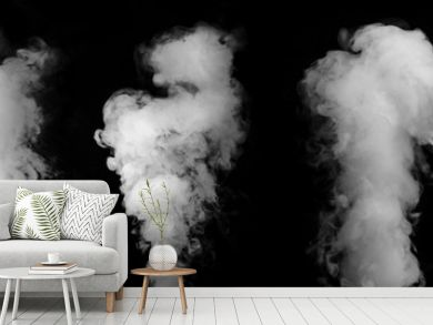 Wide design of set of smoke or steam clouds over black background