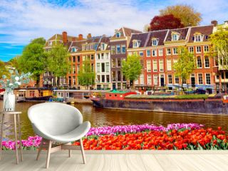 Cityscape view of the canal of Amsterdam in summer with a blue sky and traditional old houses. Colorful spring tulips flowerbed on the foreground. Picturesque of Amsterdam, The Netherlands.