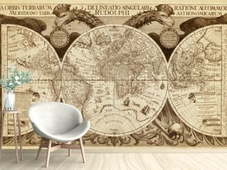 Old map of World, printed in 1630. Luxury antique wall map with hemispheres