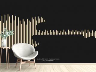 Vector electric guitar shape by equalizer strip line pattern gold color isolated on black background. In concept of music.