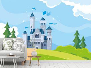 castle building fairytale in mountainous landscape