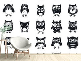 Fun owl icons set. Simple set of fun owl vector icons for web design on white background