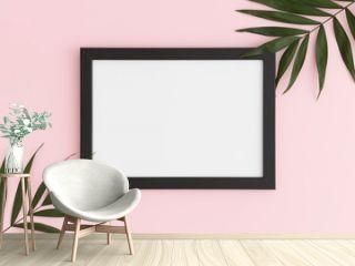 Top view of a black frame mockup with palm leaf decoration on a pink background. Landscape orientation.