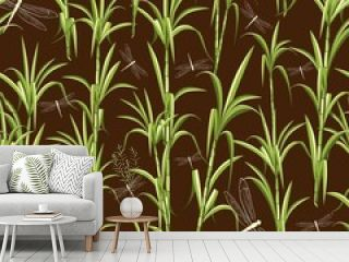 Sugar Cane and Dragonflies Vector Seamless Textile Pattern Design