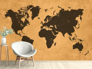 Global map, black on coloured textured background