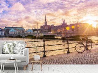 Picturesque panoramic view of Riddarholmen Island at sunset in Stockholm, the capital of Sweden