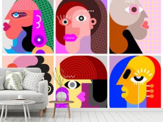 Six Different Faces vector illustration.