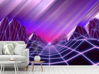80s retro background 3d render. Retrowave low poly landscape with neon lights
