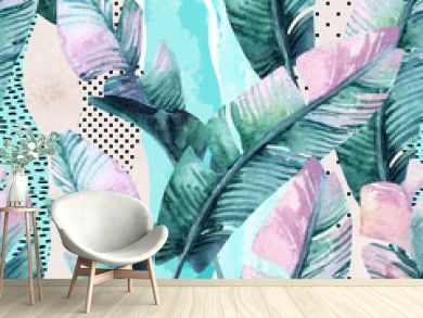 Watercolor seamless pattern of banana tropical leaves on vertical striped background