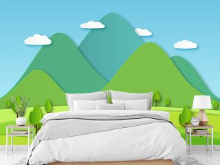 Paper field landscape. Summer landscape with green hills and blue sky, white clouds. Layered papercut creative vector 3d nature image