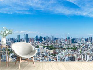(東京都-風景パノラマ)高層ビルラウンジから望む青山側からお台場方面までの風景1