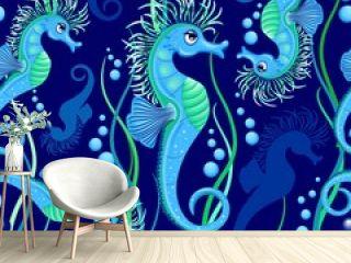 Seahorse cute blue sea animal Vector Seamless Pattern Textile Design