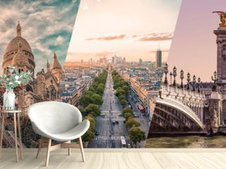Paris famous landmarks collage