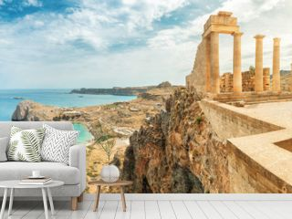 Famous tourist attraction - Acropolis of Lindos. Ancient architecture of Greece. Travel destinations of Rhodes island