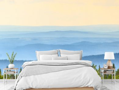 Rolling landscape view with shadings in sunrise