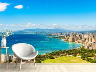 Hawaii panoramic banner view of Honolulu Waikiki beach USA summer travel vacation. Famous american honeymoon destination.