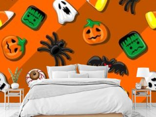 Halloween Spooky Candies Party Seamless Vector Textile Pattern