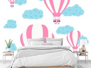 Colorful hot air balloons in the sky with clouds. Cute vector baby icons. Vector poster concept for children.