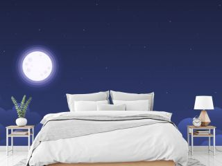 Vector night sky clouds stars. Flat clean style. Background design