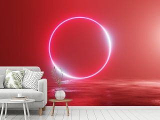 Glowing neon red circle, portal, gate. Fantastic scene. 3d rendering