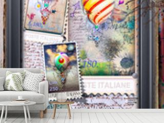 Vintage and old fashioned postcard with a steampunk hot air balloon