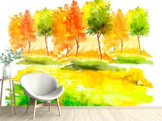 Watercolor autumn trees of yellow, red, orange color. Autumn forest,hill, blue sky. Watercolor art background.Beautiful splash of paint. Abstract creative background.
