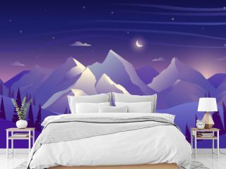 Mountains and forest at night, sky with clouds and stars, beautiful landscape
