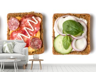 Collection of Open faced Sandwich crostini isolated on white background closeup. Set of Appetizer tartarine. Top view. Flat lay.
