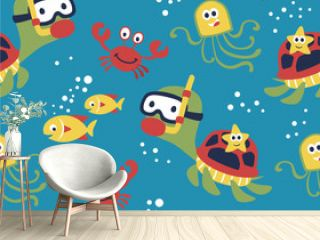 seamless pattern of marine life cartoon, turtle, crab, fish, octopus, starfish