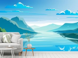 Natural landscape, mountains and lake, beautiful morning scene.