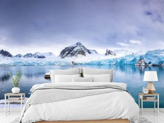 Panorama of the Smeerenburg glacier Svalbard