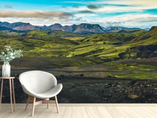 Surreal and colorful landscape of Iceland with nobody around
