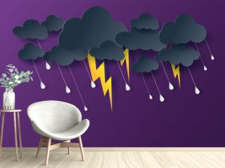 Scenery Mystical Night sky fantasy background.Dark Cloudscape natural in rain season.Moonlight at night.Creative design digital paper cut and art style.thunderstorm midnight.Vector .illustration.EPS10